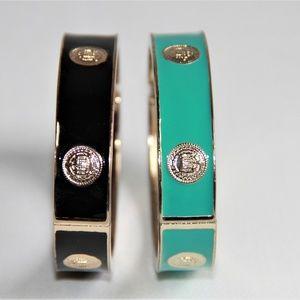 Polished Gold Enamel Oval Medallion Bangles